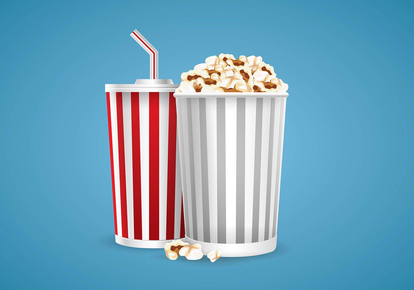 illustration of popcorn and soda vector