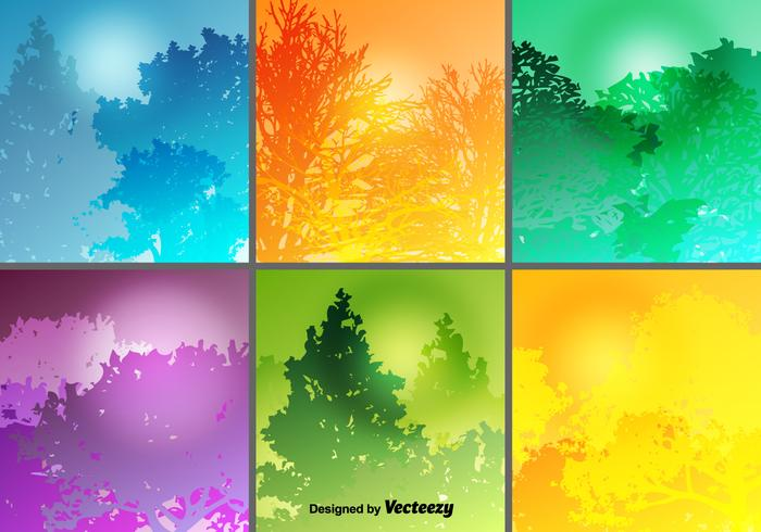 Colorful Forest Backgrounds Vector Set - Download Free ...