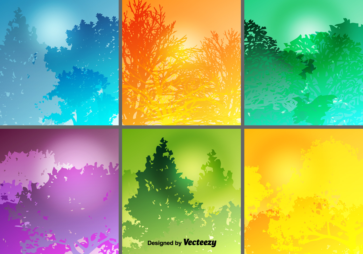 Colorful Forest Backgrounds Vector Set Download Free