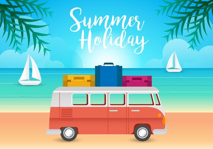 VW Camper and Beach Illustration Vectors