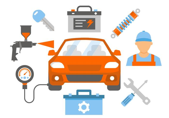 Free Car Repair and Service Vector Illustration
