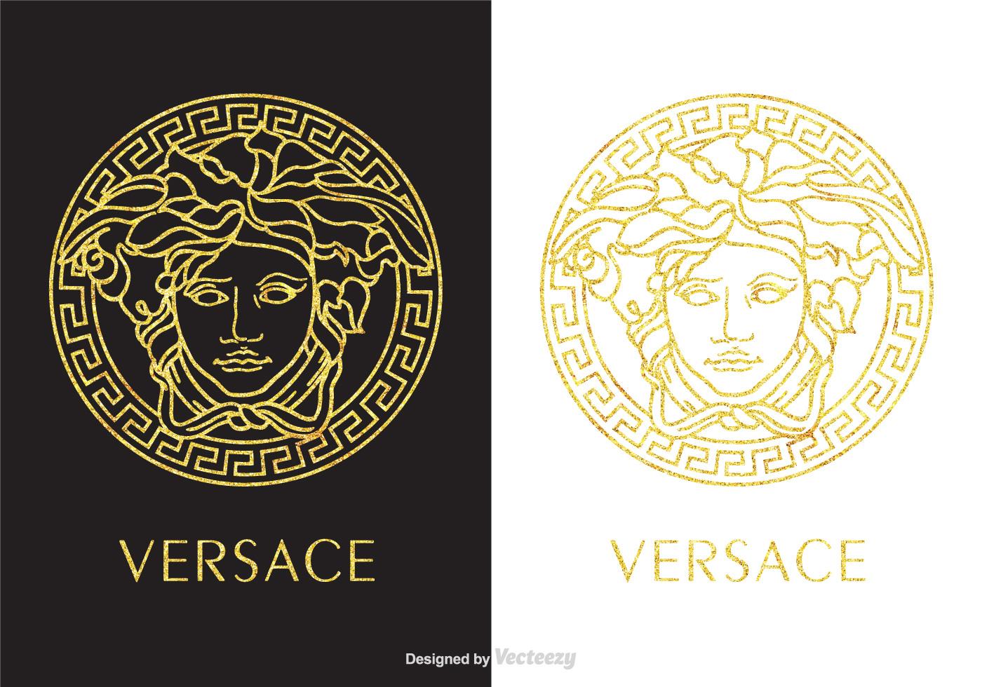 golden versace logo vector download free vector art