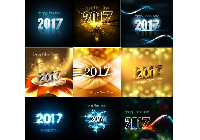 Set Of Happy New Year 2017 Cards