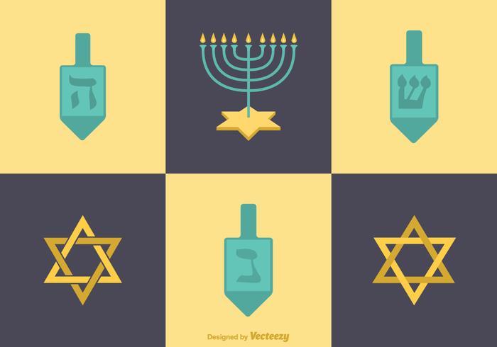 Vector libre iconos planos Hanukkah
