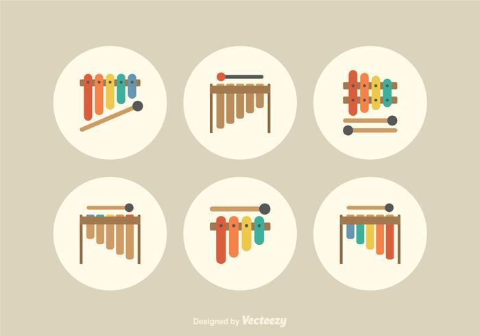 Livre Plano Marimba ícones do vetor
