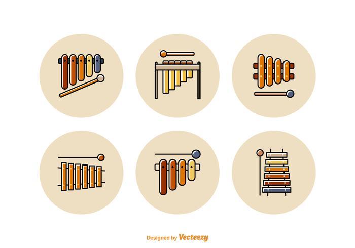 Free Marimba Flat Line Vector Icons