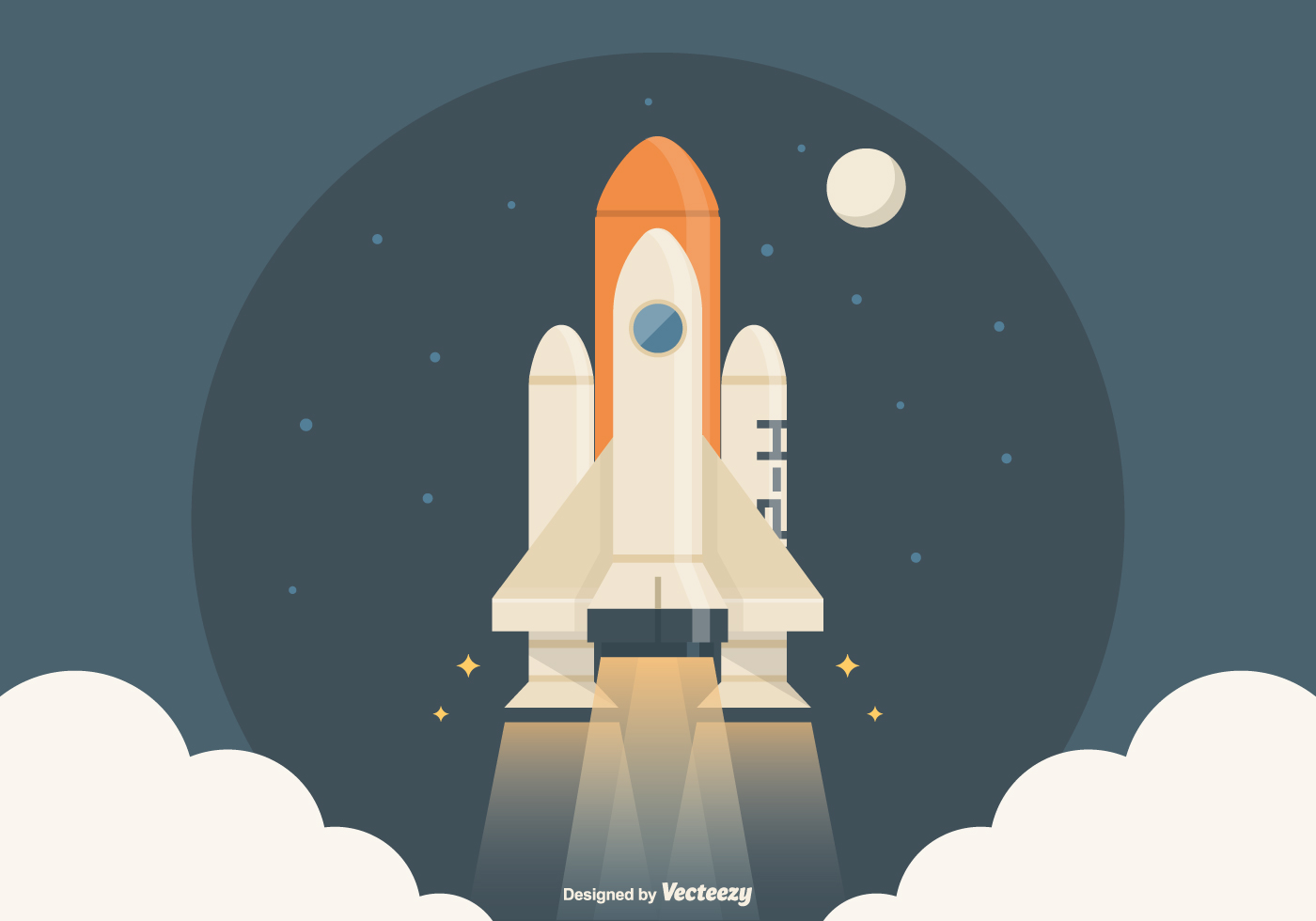 Spaceship Launch Vector Illustration
