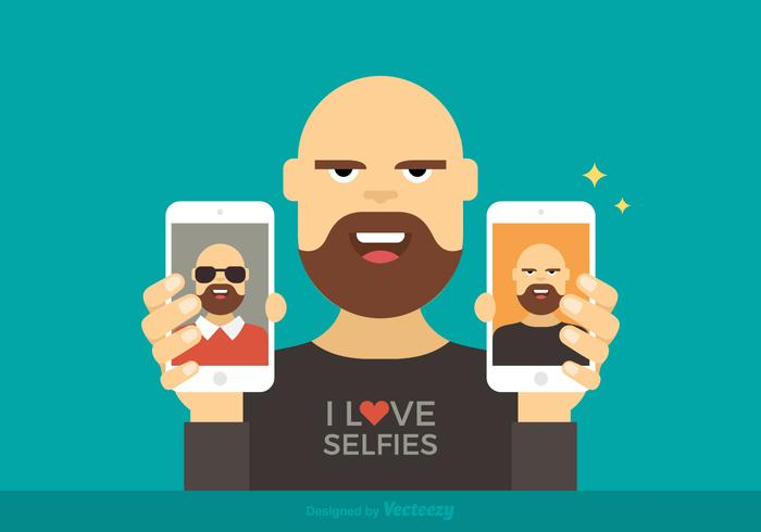 Man Showing Selfies Vector Illustration