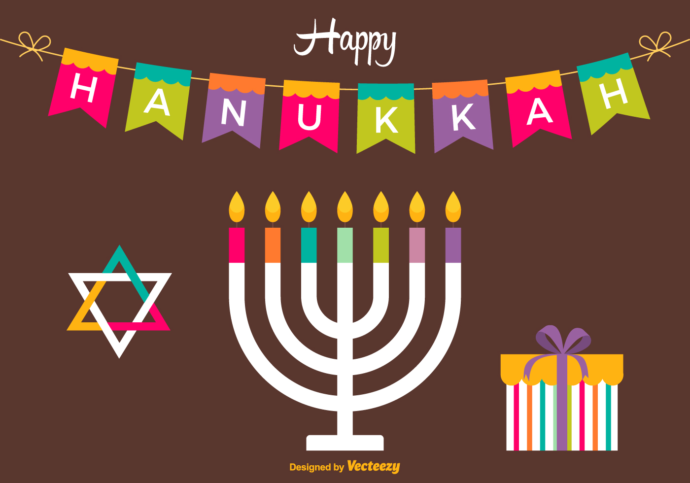 Happy Hanukkah Vector Card Download Free Vector Art Stock