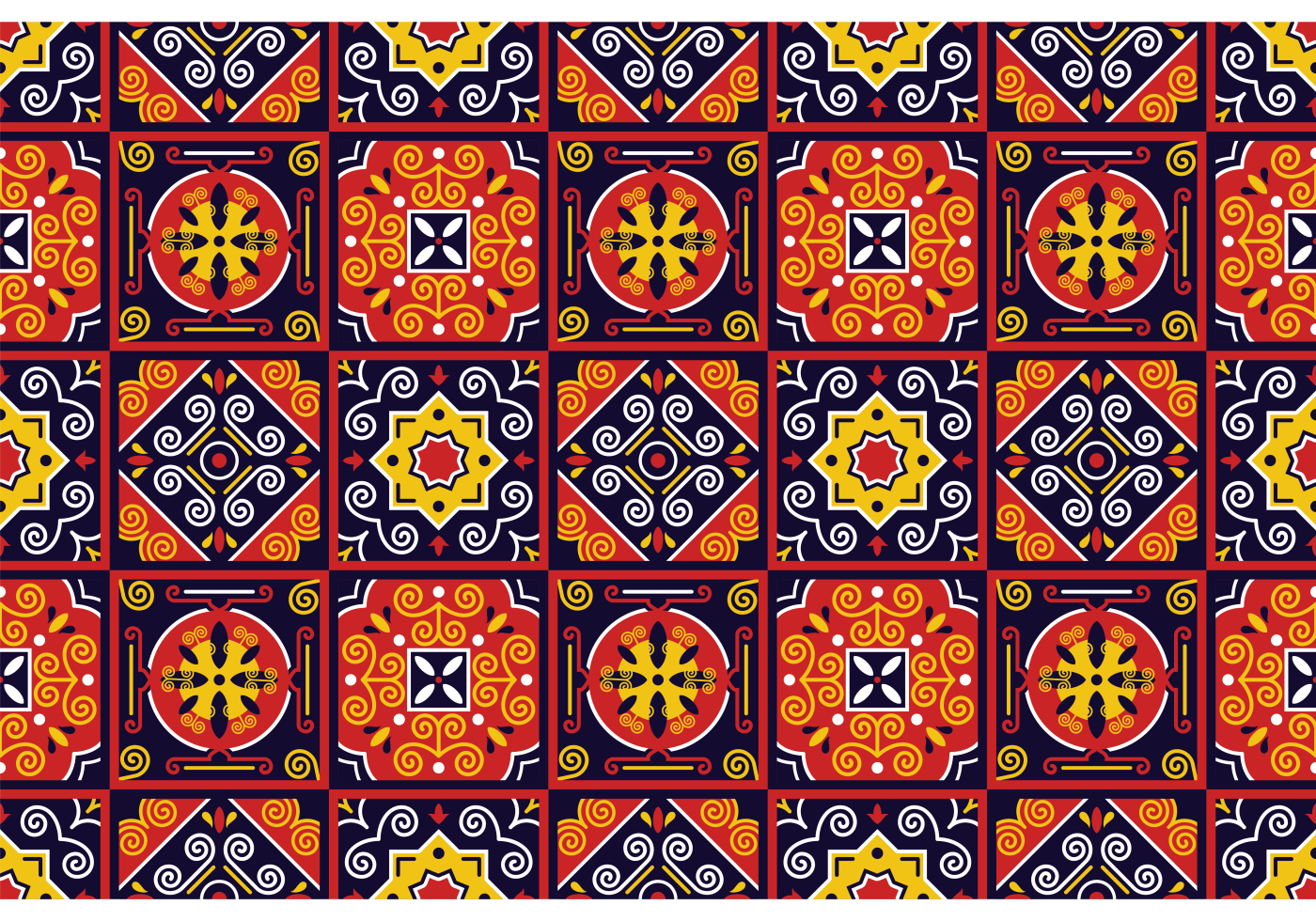 Vector Traditional Azulejos Pattern Download Free Vector