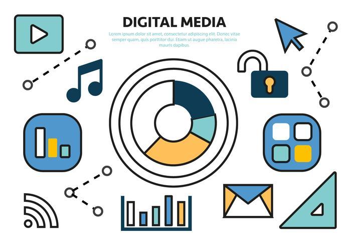 Vettore piano digitale libero di concetto di media