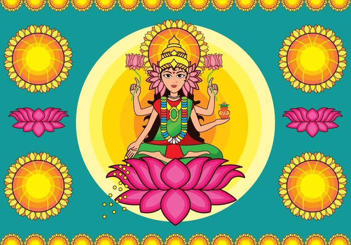 Colorful Goddess Lakshmi Vector