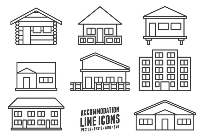Accommodation Line Icons vector