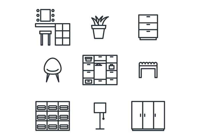 Dressing Room Icon Set vecteur