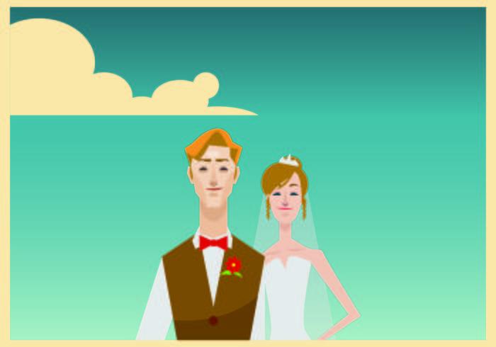 Porträt von Braut und Bräutigam Illustration