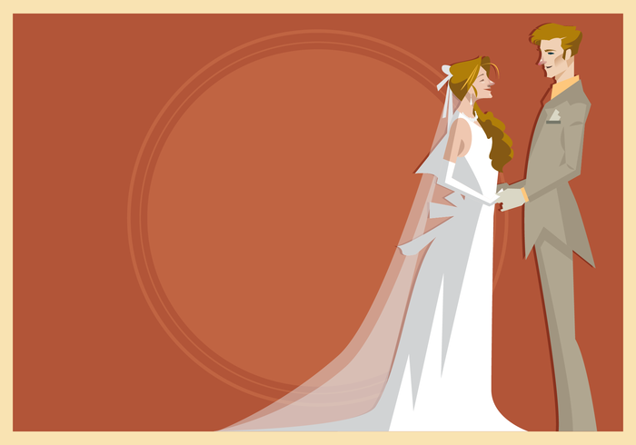 Bride and Groom Standing Together Vector