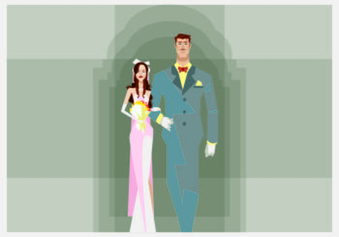 Bride and Groom Walking Illustration vector