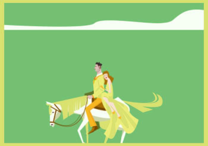 Couple With White Horse Blonde Illustration