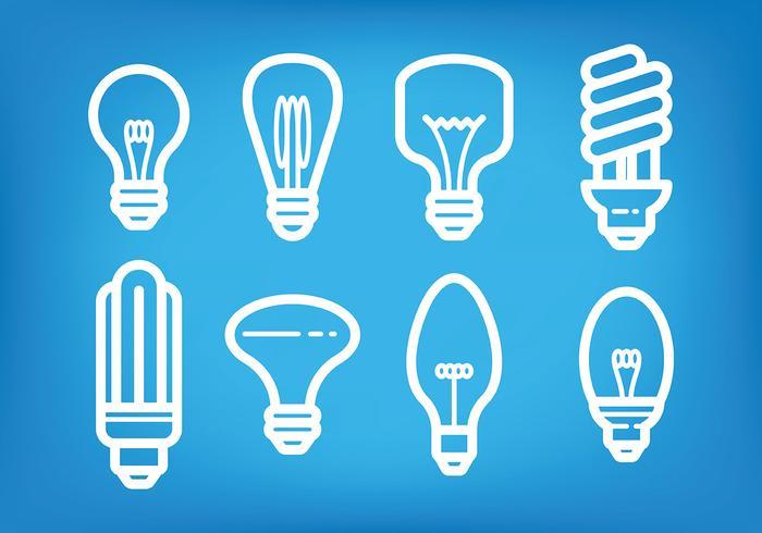 Light Bulb Ampoule Icons Vector