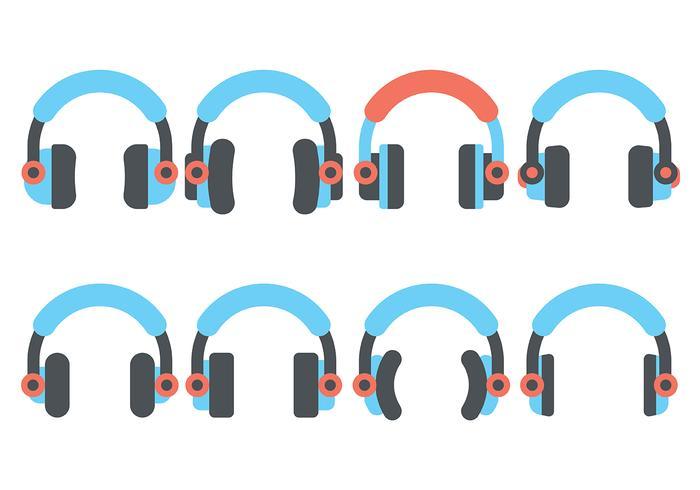 Auriculares plana del icono del vector