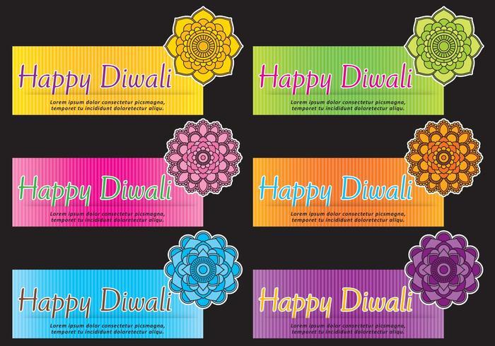 Mandala Diwali Banner Vectors