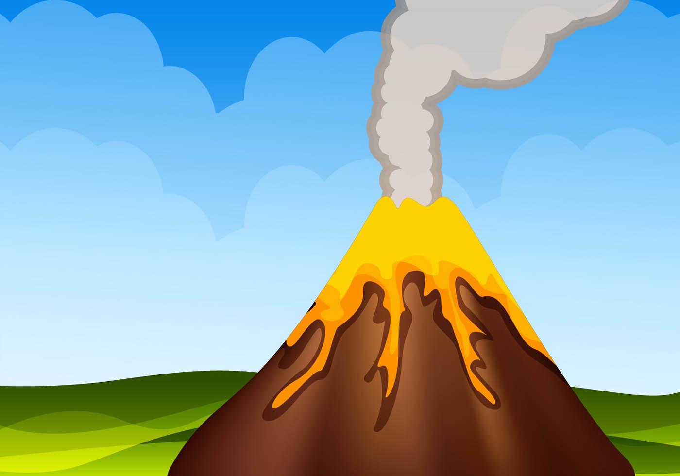 Erupting Volcano Mountain Vector - Download Free Vector Art, Stock ...