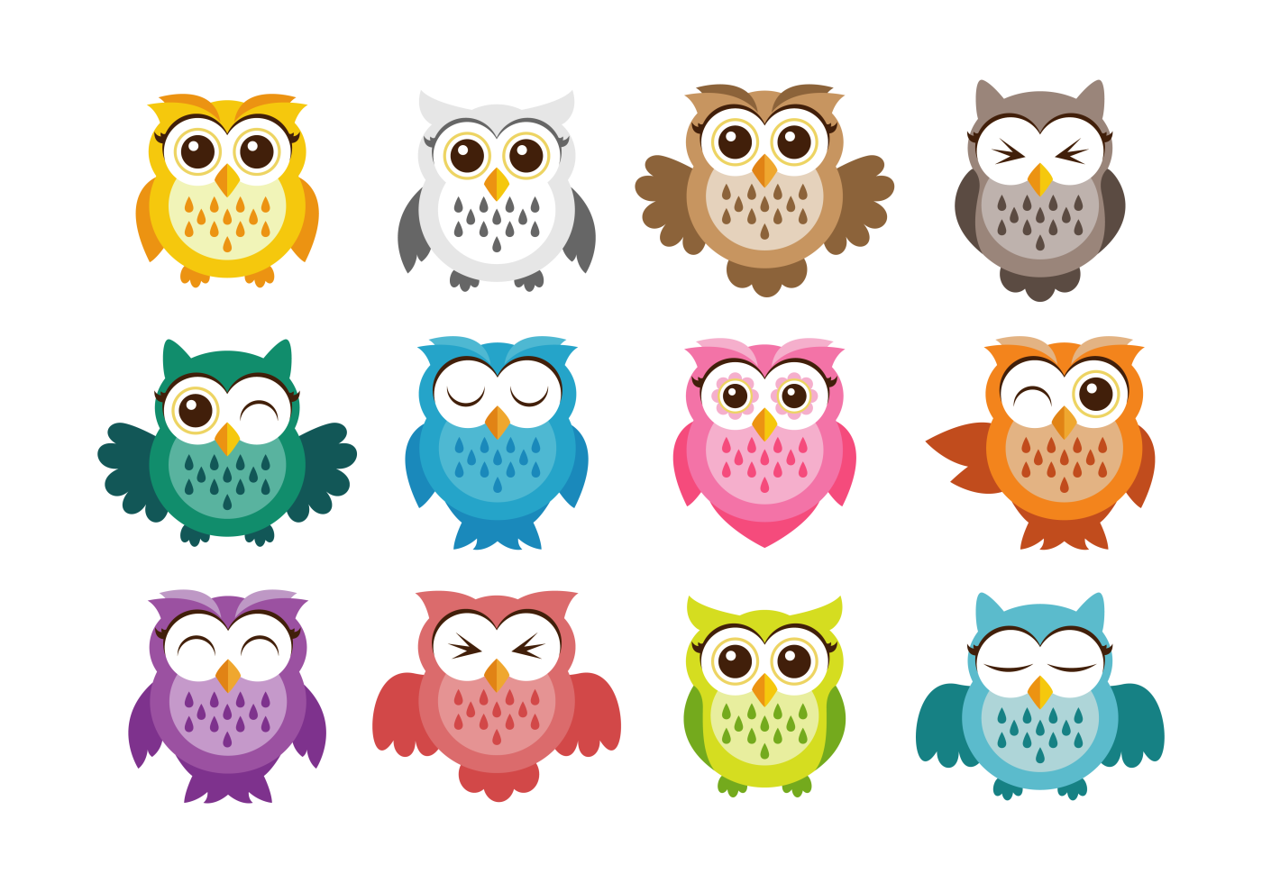 colorful cute owl vector - photo #8
