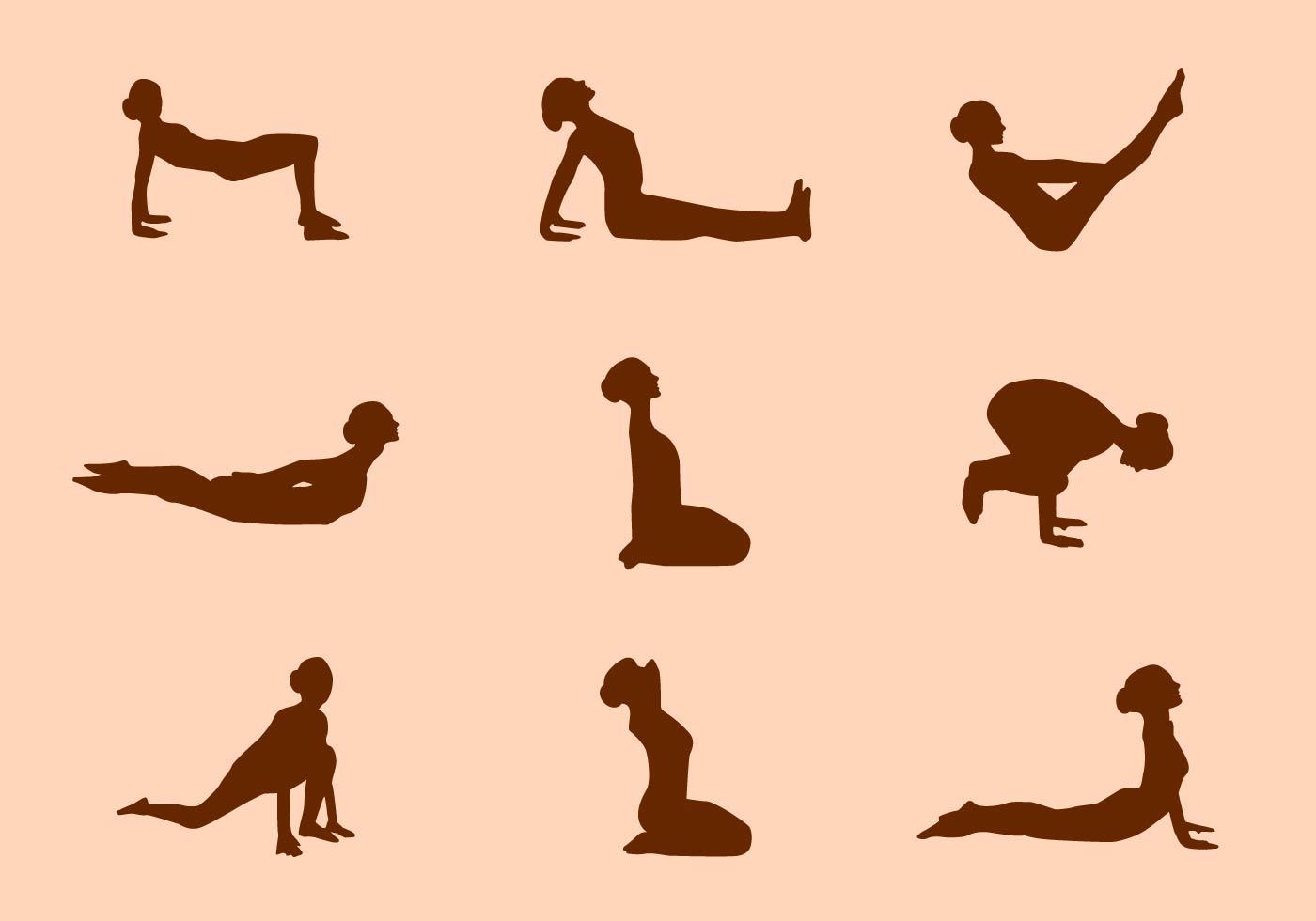 Silhouette of Yoga Pose Vectors - Download Free Vectors ...