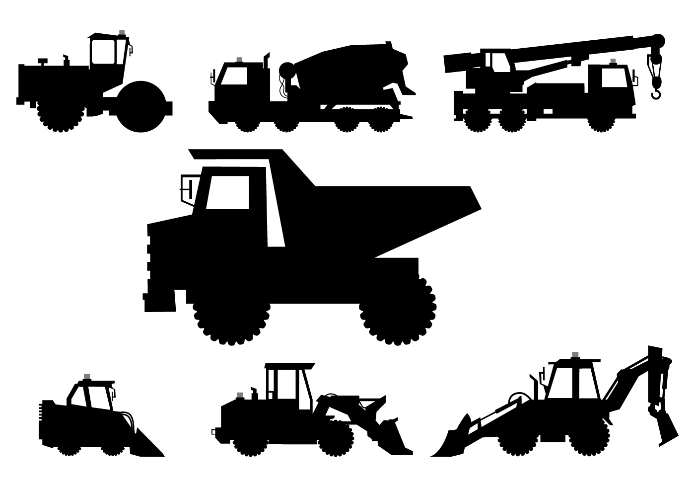 Heavy Equipment Silhouette : Silhouettes of heavy vehicle vectors download free