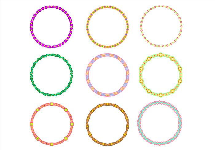 Cute Circle Border Funky Frames Vector