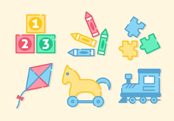 Cute Toddler Toys Vector