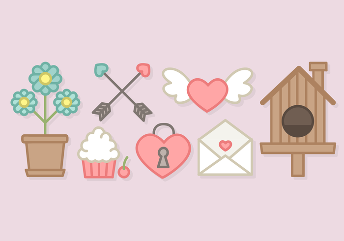 Cute Valentine S Day Elements Vector Download Free Vector Art