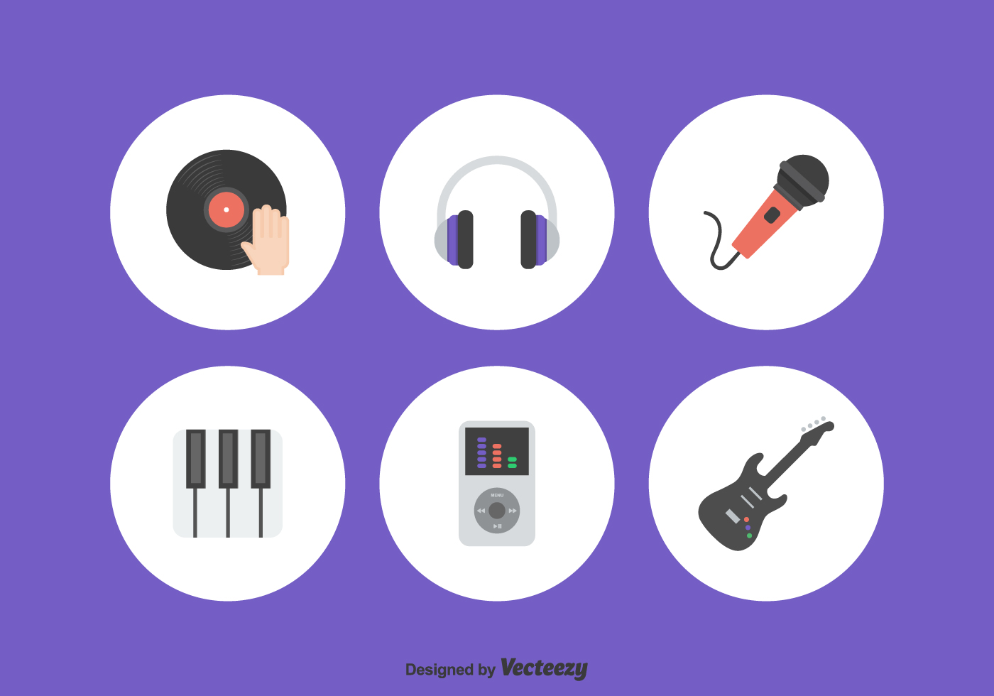 Flat Music Icons Vector Set - Download Free Vector Art ...