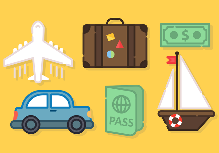 Cute Travel Elements Vector