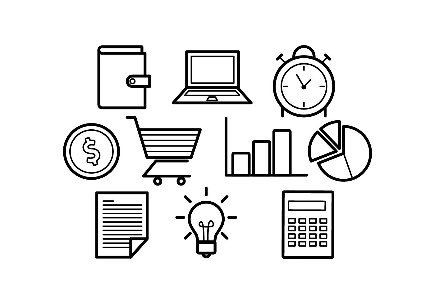 Line Art Icons Free : Free line icons business vector download art