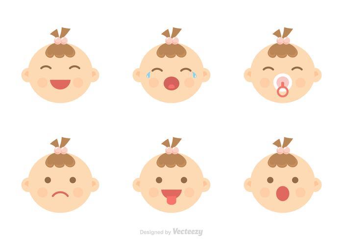 Iconos del bebé del vector de expresión facial