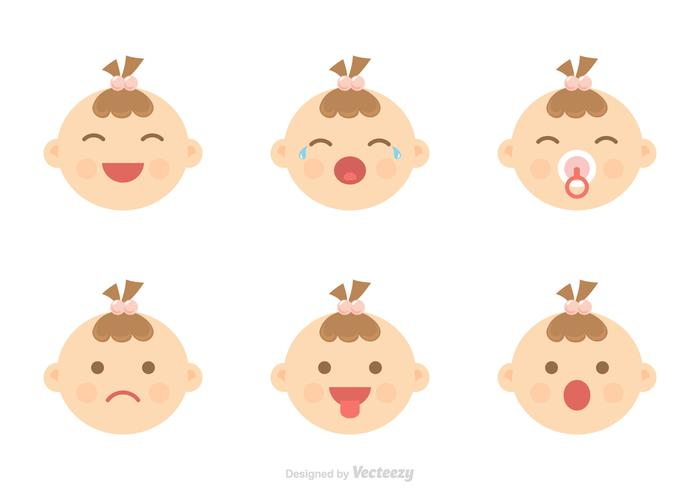 Baby Facial Expression Icons Vector