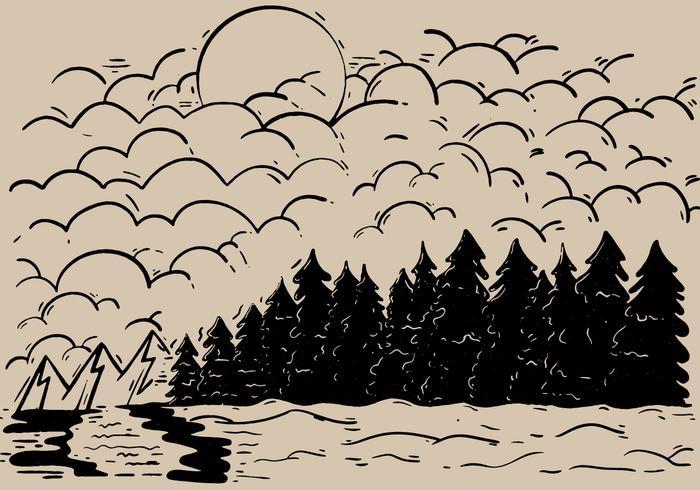 Sketchy Forest Outdoor Landscape Vector