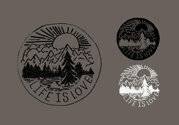 Life Is Love Mountain Badge Vectors