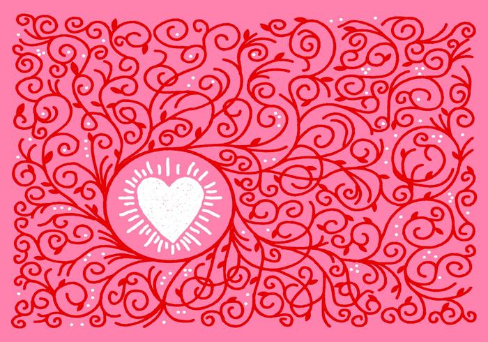 Heart and Vine Border Vector