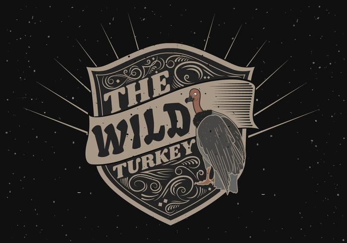 Wild kalkon Silhouettelogo etikett illustration
