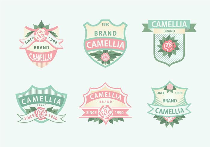 Camellia Flowers Pink Green Soft Color Label Vector