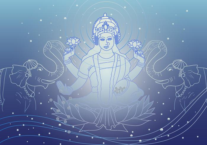 Lakshmi Goddess Of Wealth Vector