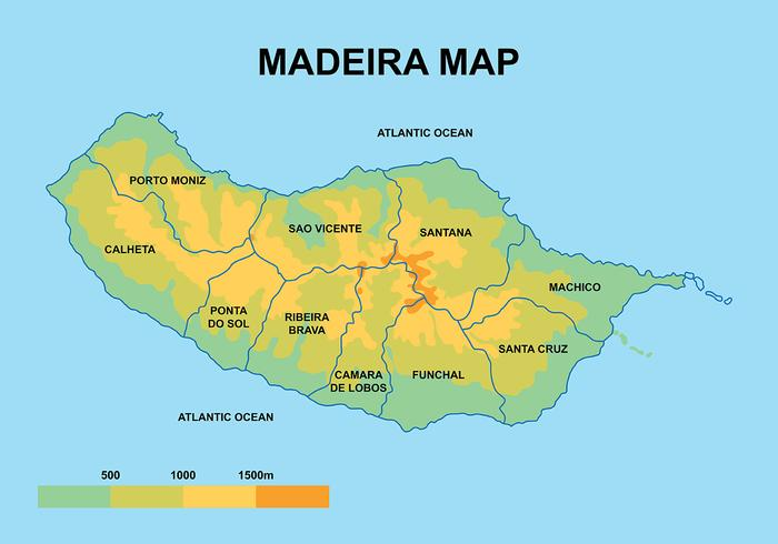 Map Of Madeira Madeira Maps Vector   Download Free Vector Art, Stock Graphics