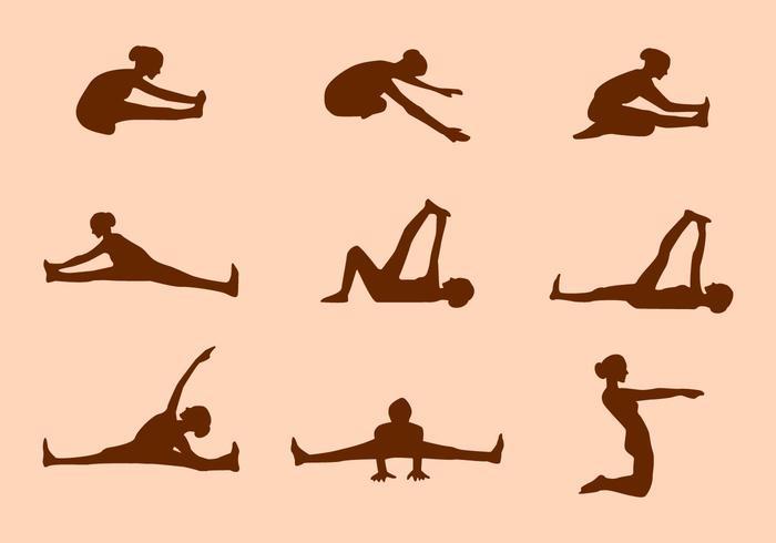 Siluetta dei vettori di posa di yoga