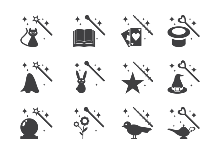 Magic Stick and Elements Icons Vector