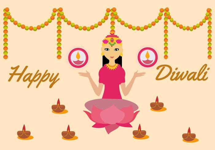 Illustrazione vettoriale gratuito di dea Lakshmi