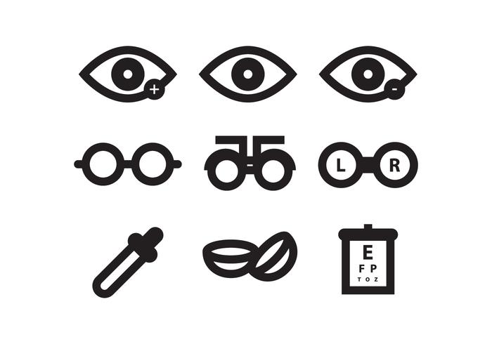 Conjunto de ícones do dente do olho
