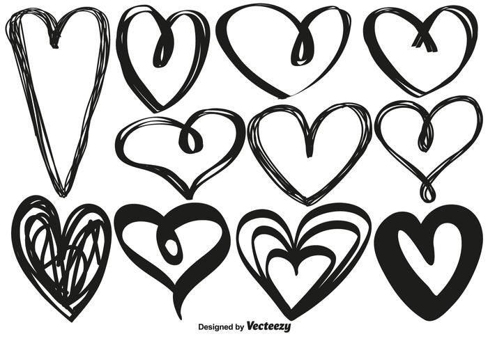 Vector Hand Drawn Hearts
