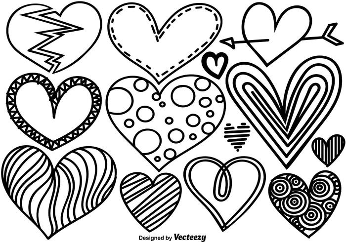 Vector Set Of Doodle Hearts